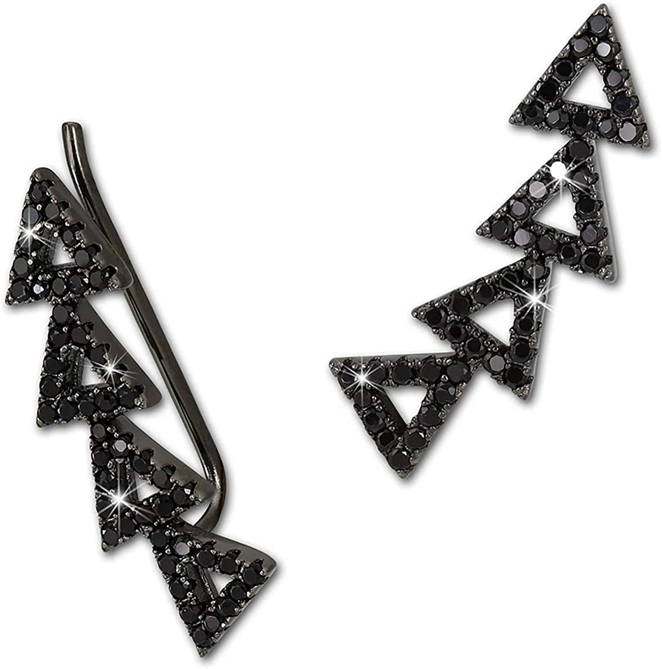 SilberDream Ear Cuff Triangles Zircons noirs Boucles doreilles en Argent GSO426S