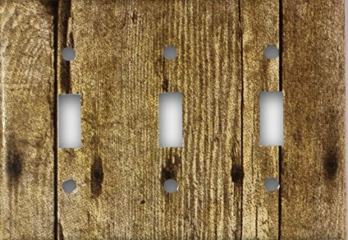(Barn Wood Design Triple Toggle Light Switch Cover Wall Plate)