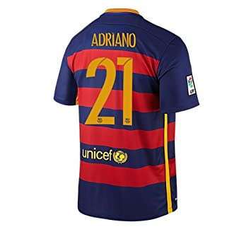 Nike Adriano #21 Barcelona Camiseta 1ra Futbol 2015/2016 (Nombre Auténtico Y Número