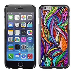 TopCaseStore / Snap On Hard Back Shell Rubber Case Protection Skin Cover - Leaves Nature Art Glass Floral - Apple iPhone 6 Plus 5.5