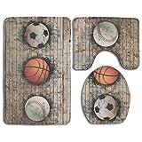 Basketball Soccer Baseball Ball Bath Mat,Bathroom Carpet Rug,Non-Slip 3 Piece Bathroom Mat Set