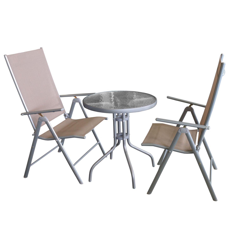 balkonm bel set bistrotisch tischglasplatte geriffelt metall 60cm anthrazit 2x hochlehner. Black Bedroom Furniture Sets. Home Design Ideas