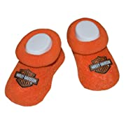 Harley-Davidson Baby Boys' Boxed Booties, Bar & Shield Logo, Orange S9LUL22HD