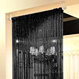 39x78 Inch Door String Curtain Rare Flat Silver Ribbon Thread Fringe Window Panel Room Divider Cute Strip Tassel for Wedding Coffee House Restaurant Parts (pack of 2 Black)