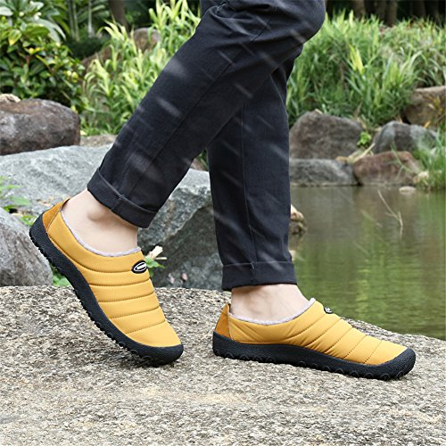 Pengcheng Hommes Femmes Pantoufles De Maison En Coton Chaud Fourrure Doublée Slip Sur Des Chaussures Pour La Neige Hiver En Plein Air Intérieur Chameau