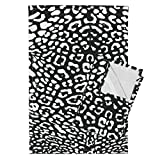 Roostery Leopard Cheetah Animal Spots Black and White Bw Punk Tea Towels Ooh La La! Leopard ~ White and by Peacoquettedesigns Set of 2 Linen Cotton Tea Towels
