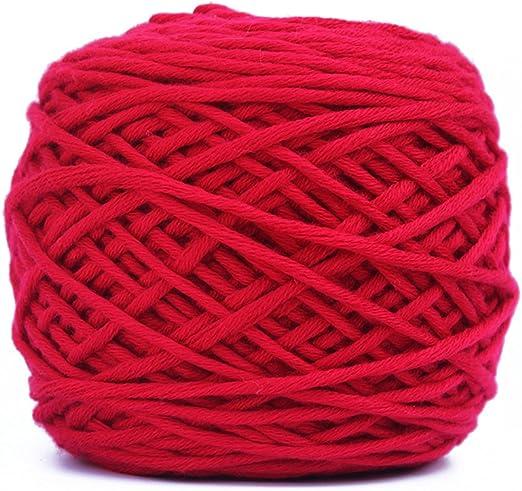OUNONA Hilo de lana de punto de algodón liso Crochet 200g para ...