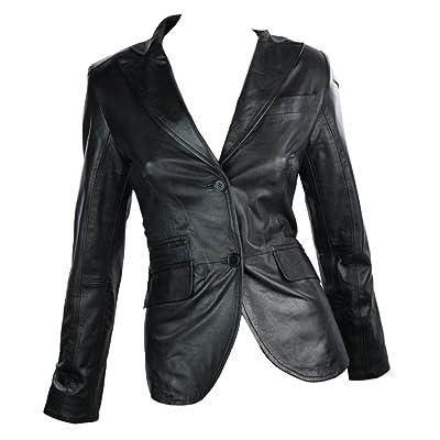 100% Cuir Veste Blazer Style Retro 2 bouton blazer noir