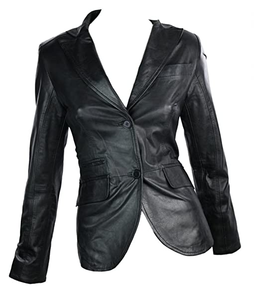 100% Ladies Leather Jacket Blazer Style Retro 2 button blazer ...
