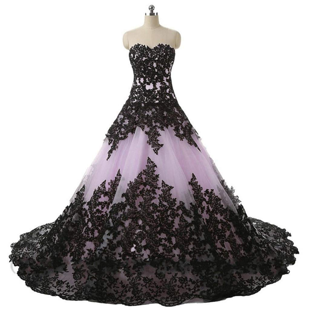 Mauwey Women\'s Charming New Sweetheart Organza Black Lace Gothic Wedding  Dresses Bridal Gowns Plus Size