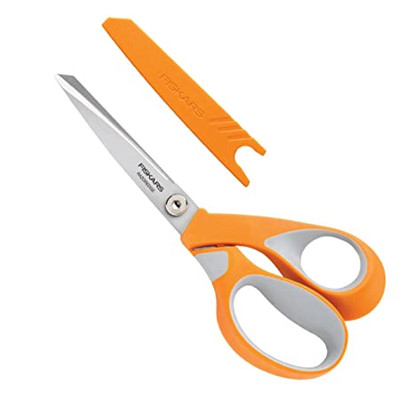 Fiskars Tijeras multiuso, Longitud de las hojas: 12 cm, Hoja de acero inoxidable/Mangos de plástico, Naranja, RazorEdge, 1014578