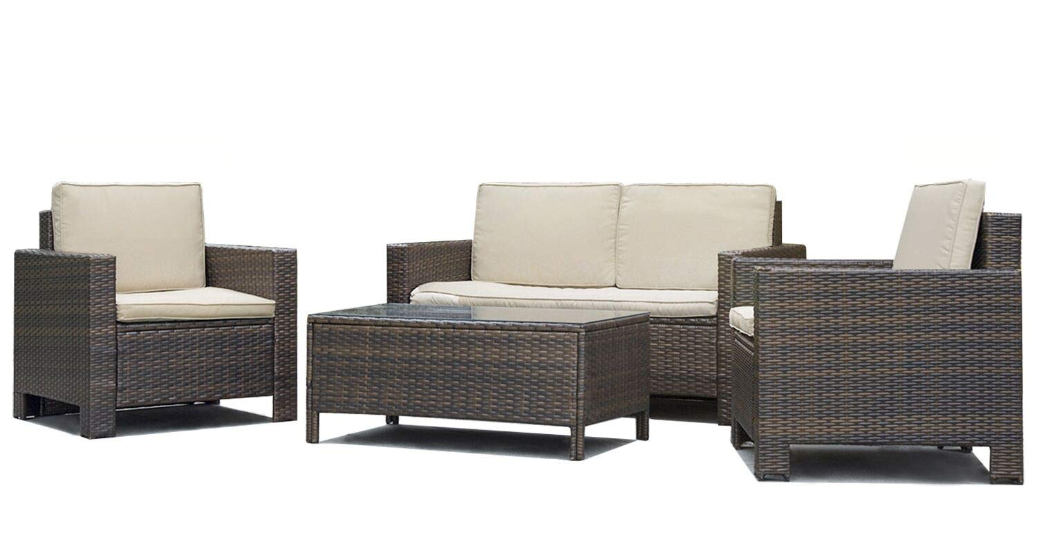 FDW 4 Pieces Outdoor Patio PE Rattan Wicker Sofa Sectional Furniture Set with Cushion by FDW