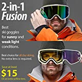 2f6466174f6 COPOZZ MX Ski Snow Goggles - 2-in-1 For Any Weather - Magnetic  Interchangeable Lens