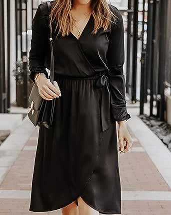 The Drop Vestido Midi Cruzado Negro de Satén Elástico por @somewherelately