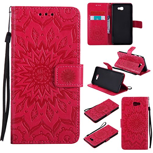 Galaxy J3 Emerge Wallet Case,A-slim Sun Pattern Embossed PU
