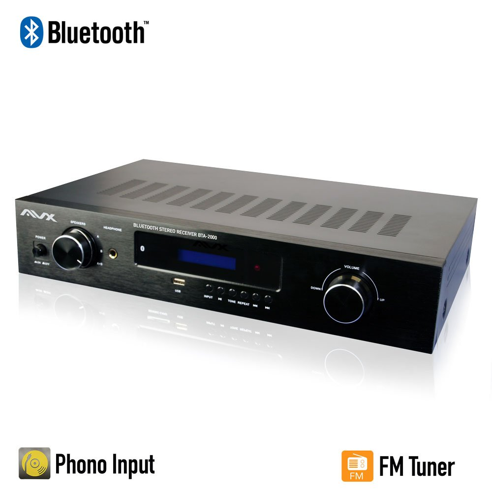 Bluetooth Stereo Receiver w/Phono Input, Subwoofer Output and FM Tuner by AVX Audio