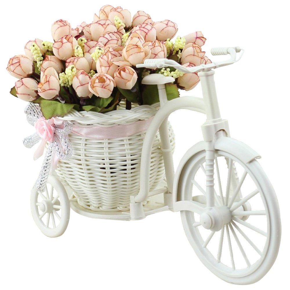 Amazon Jarown Artificial Flowers With Vase Basket Silk Rose