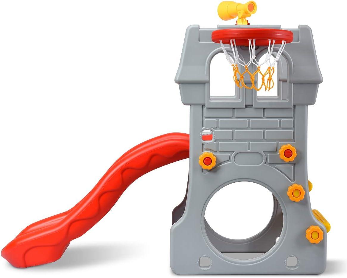 Kletterturm Rutsche f/ür Kinder von 3 bis 8 Jahren f/ür Garten Kindergarten Kinderzimmer DREAMADE Spielturm Kinderrutsche mit Basketballkorb /& Teleskopspielzeug /& Fu/ßballtor