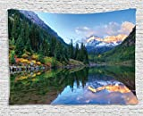 Ambesonne Lake House Decor Collection, Reflection of Snowcapped Maroon Bells in Fall, At Sunrise. Panoramic Picture Print, Bedroom Living Room Dorm Wall Hanging Tapestry, 80 X 60 Inches, Green Yellow