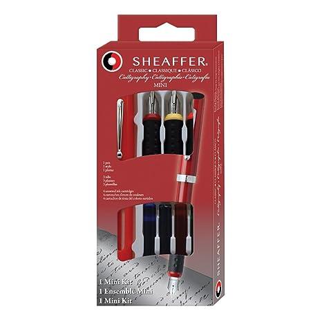 Sheaffer - Pluma estilográfica con 3 plumines intercambiables (incluye 4 cartuchos de tinta de varios