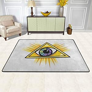 """Eye Area Rugs Large Carpet Colorful Mystical Eye in a Yellow Triangle Truth Knowledge and Wisdom Themes Outdoor Rugs Marigold Purple Green for Living Dining Dorm Playing Room Bedroom 4'7""""x5'2"""""""