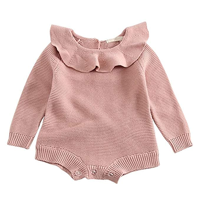 a4bf8409167 GObabyGO Baby Girls Sweet Knitted Fleece Romper Long Sleeve Ruffle Jumpsuit  Sweater Dress (Pink