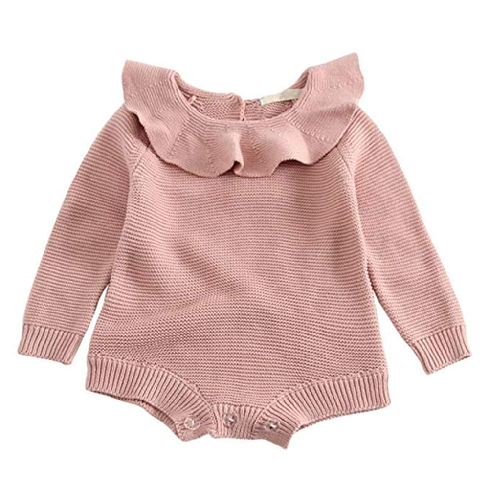 Pinleck Infant Baby Girls Boys Knit Romper Polka Dot Strap Bodysuit Jumpsuit Sweater