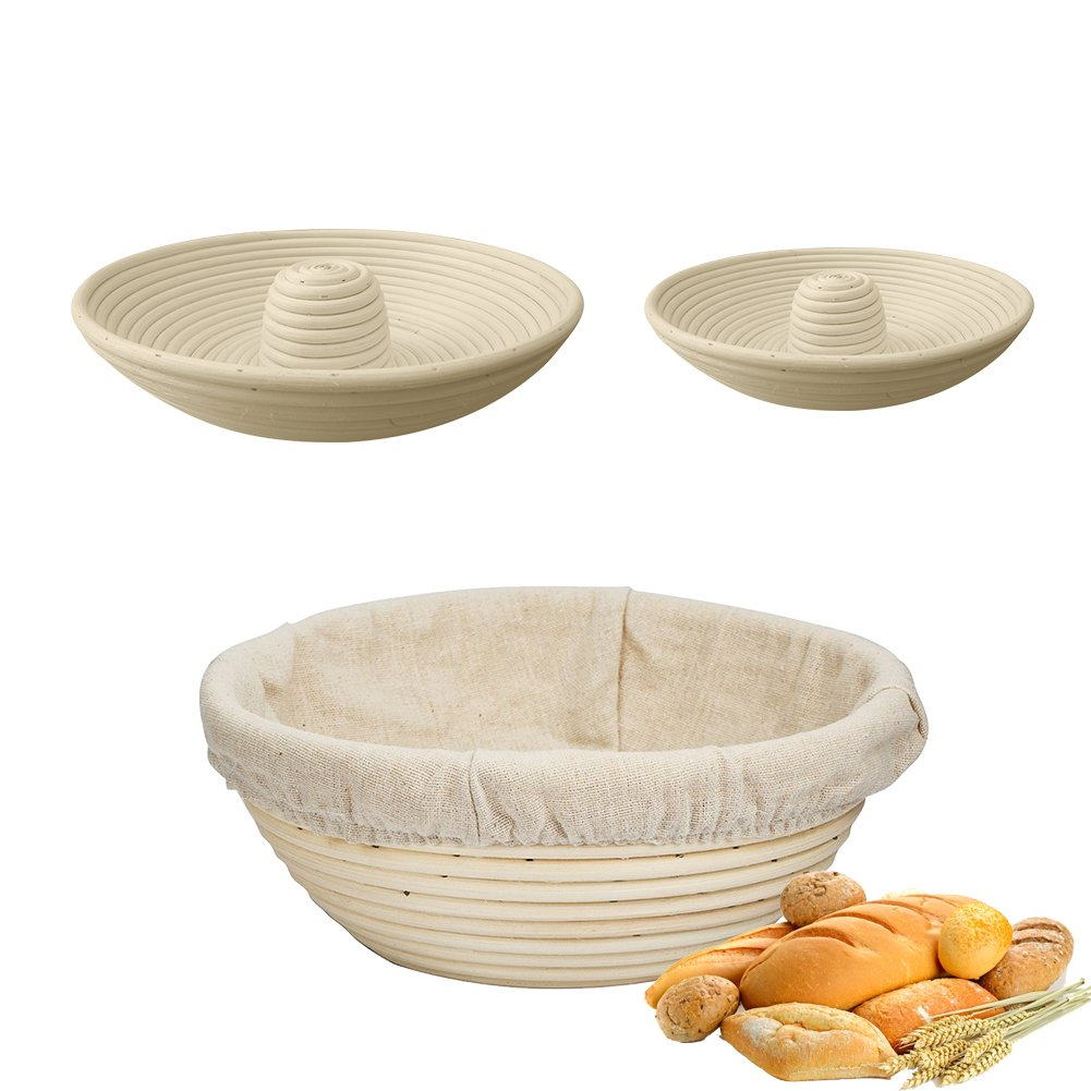 Banneton Proofing Basket Round with Free Liner for Professional Home Bakers Rising Round Crispy Crust Baked Bread Making Dough Shape Loaf Boules suesupply
