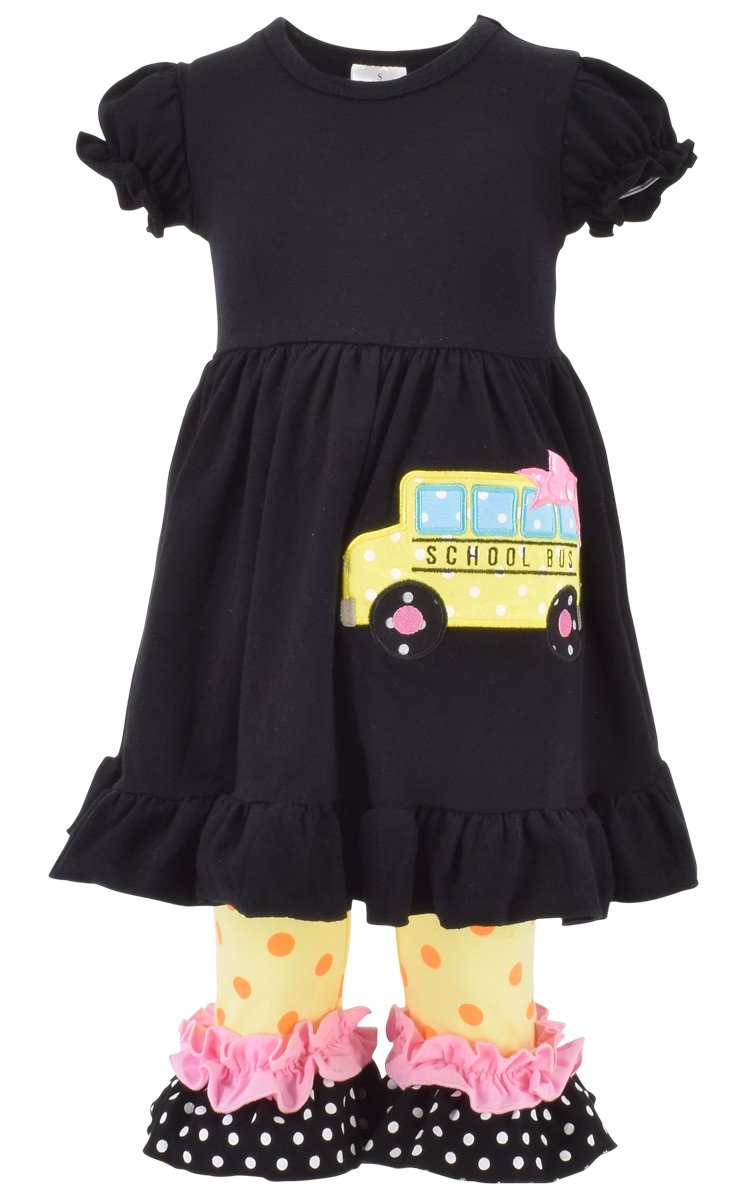 Unique Baby Girls Back to School Bus Tunic Boutique Outfit (5T/L, Black)
