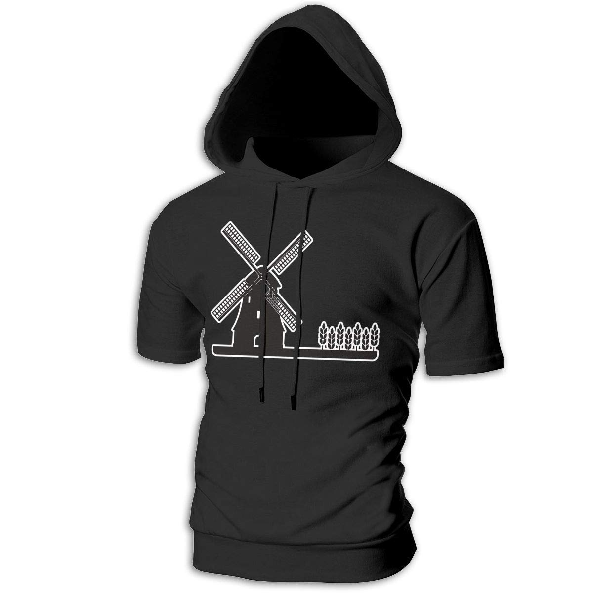 MZ-HY Holland Windmill Mens Hipster Short Sleeve Hoodie Pullover Soft Hooded T-Shirt