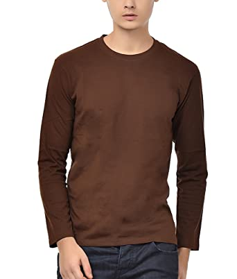 8e7593e0823 NEEVOV Men s Round Neck Cotton Chocolate T-Shirt Full Sleeve-L ...