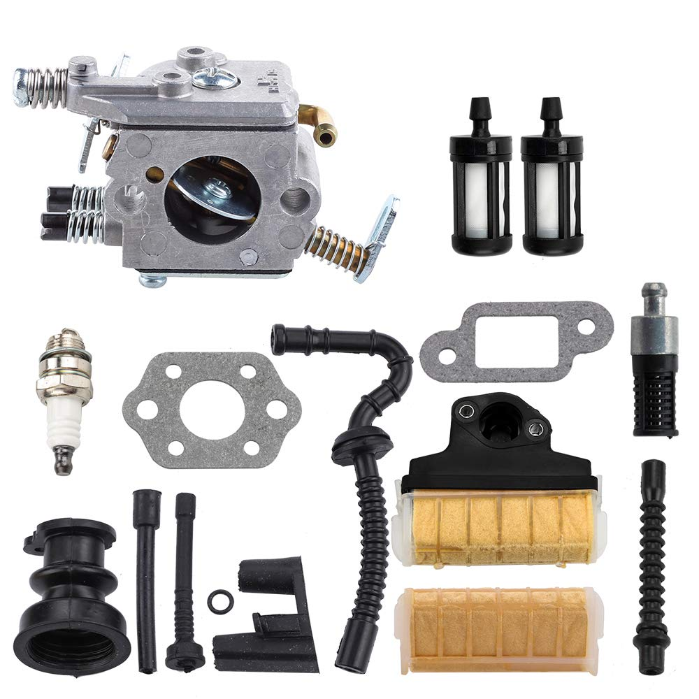 Dxent MS250 Carburetor w Air Filter Tune-up Kit for STIHL MS230 MS210 021 023 025 Gas Chainsaw Fuel Line Filter by Dxent