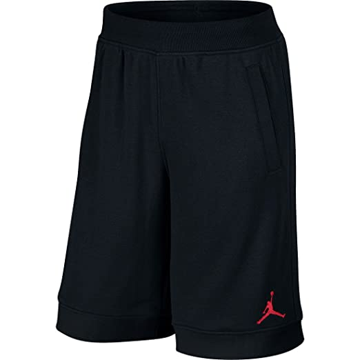51dae16598f716 NIKE Mens Jordan Fleece Shorts Black Gym Red 642453-013 Size Small