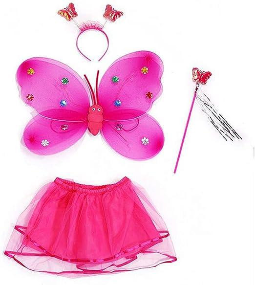 YO-HAPPY 4pcs Conjunto de Disfraces de Hadas para niñas Falda de ...