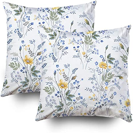 Amazon Com Roolays Pillow Cover Throw Square Decorative Pillow Cover 20x20inch Cushion Covers Seamless Floral Pattern With R Both Sides Printing Invisible Zipper Home Decor 2 Pack Pillowcase Orange Peach Home Kitchen