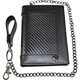 Carbon Fiber RFID Blocking Anti-Theft Passport Wallet w/ Removable Chain