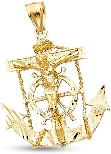 Anchor Pendant Solid 14k Yellow Gold Mariner Charm Polished Diamond Cut Genuine
