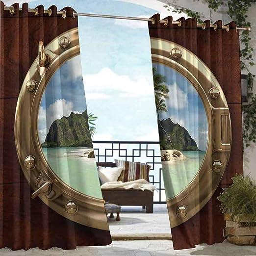 DILITECK - Cortina para pérgola, decoración Hawaiana, Flores de Hibisco Hawaianas y Hojas, diseño de Tela, impresión artística para Patio/Porche Delantero: Amazon.es: Jardín