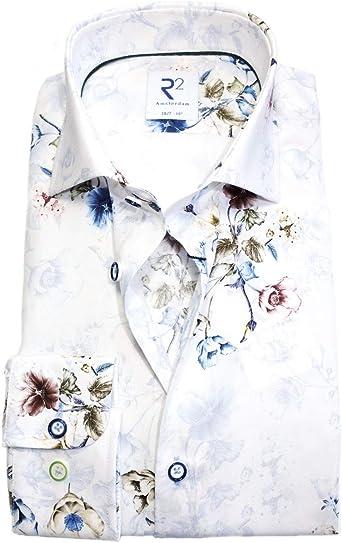 R2 Amsterdam - Camisa de manga larga, diseño floral, color ...