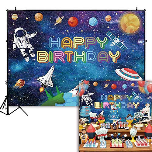 Funnytree 7x5ft Cartoon Outer Space Birthday Backdrop for Baby Boy Universe Galaxy Stars Planets Photography Background Astronaut Portrait Party Cake Table Decorations Banner Photo Booth Props -