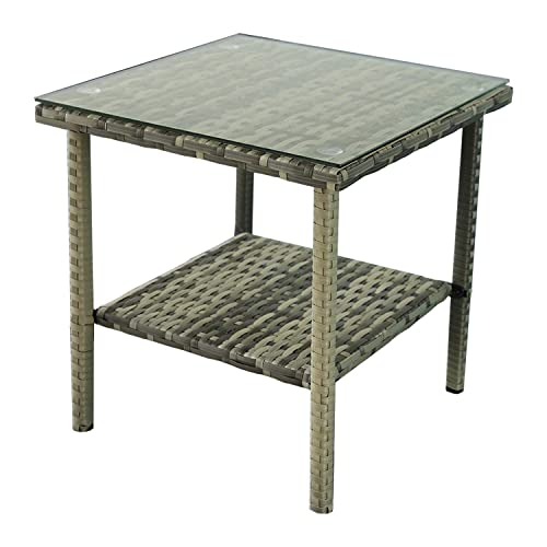 Outdoor PE Wicker Glass Top Side Table – Patio Rattan Square End Table with Storage, Grey