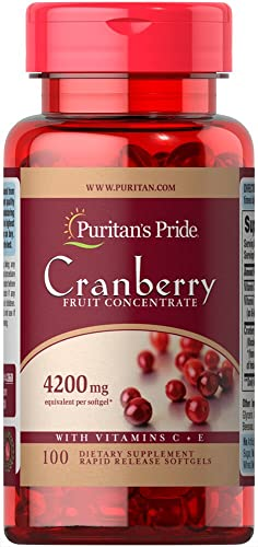 Puritans Pride Cranberry Fruit Concentrate with C E 4200 Mg, 100 Count