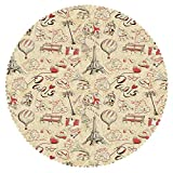 Barnwood Coffee Table Ideas iPrint Mildew Resistant Round Tablecloth [ Paris Decor,French Culture Themed Doodle with Airship Croissants Coffee Hat Sunglasses Lipstick ] Fabric Home Tablecloth Ideas