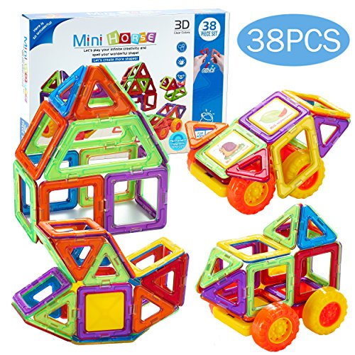 Minihorse-Educational Building Toy (38 pcs) with Activities to Learn STEM Concepts Magnetic Blocks Building Set for Kids, Magnetic Tiles Gift for Kids 2-5 Years - What For Halloween You Be Should