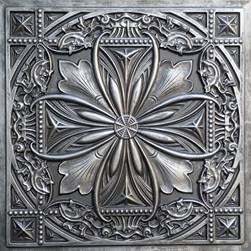 TalissaDecor Faux Tin Glue up/Drop in Ceiling Tile TD10 Aged Silver Pack of 10 2'X2' Tiles (~ 40 sq.ft). Easy to Install PVC Panels. Gorgeous Antique Vintage Look Ceiling. Great for DIY Backdrop. ()