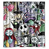 Shower Curtain Company Custom Unique Design The Nightmare Before Christmas Skull Waterproof Fabric Shower Curtain, 72 by 66-Inch