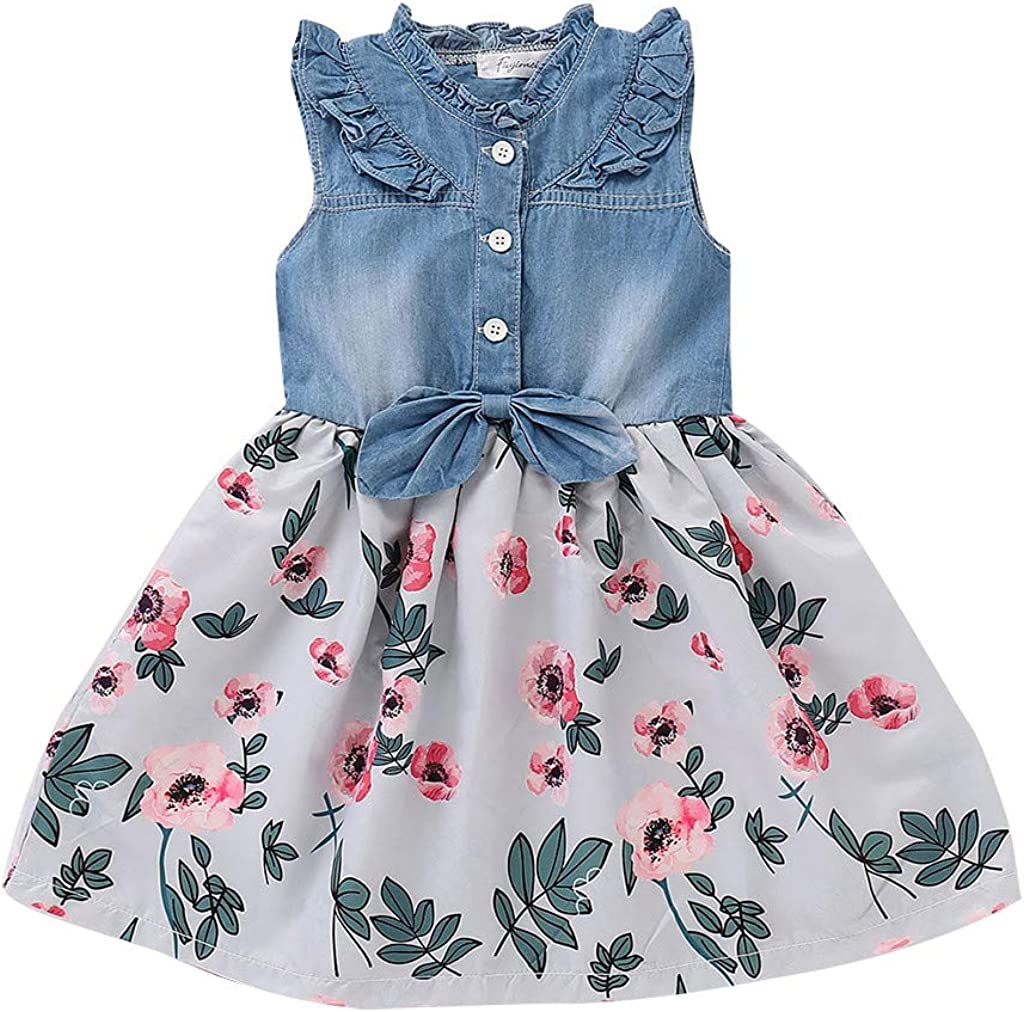 Floral Print Skirt Clothes Outfit Set Girl Clothes 6M-4Y Transser Infant Baby Girls Denim Sleeveless Tops