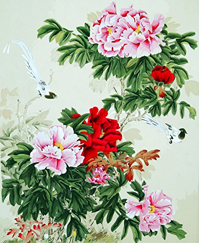 (TianMai Version 3.0 HD Paint by Number Kits for Adults PBN Kit Paintworks Digital DIY Oil Painting Canvas Kits for Children Kids Beginner White Christmas Decorations Gifts - Peony Flower (N1, Framed))