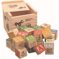DS 27 Pieces Wooden Blocks for Kids with Alphabet, Number and Images