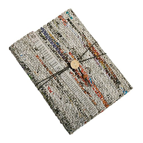 Blank Journal With Woven Recycled Newspaper And Cloth Cover 'Earth News Journal'